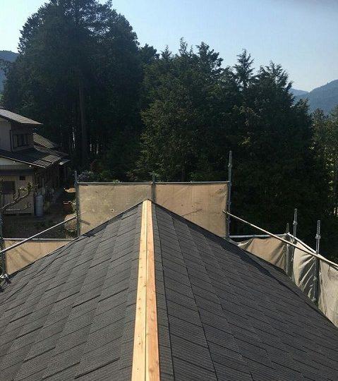 屋根カバー 棟押さえ再構築