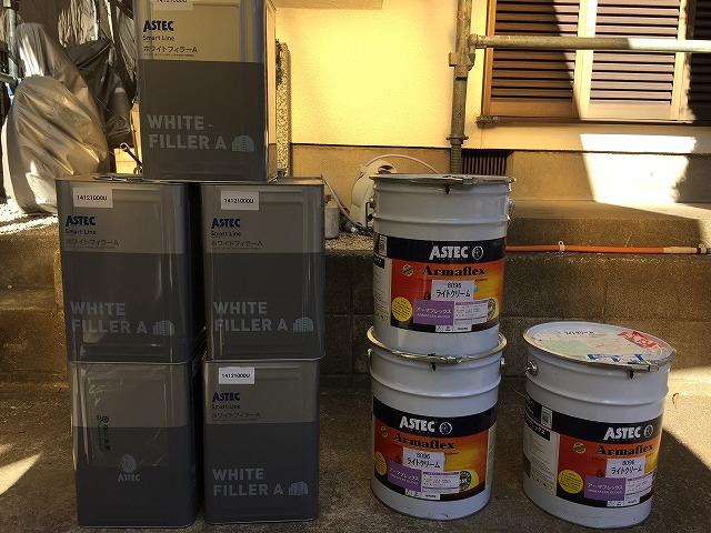 メーカー規定の塗布量を厳守する為に必要缶数を割り出し、お施主様と一緒に検品していただきます。