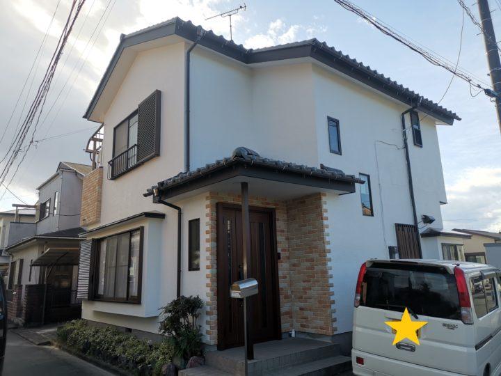 川島町T様邸 屋根瓦工事、外壁塗装、雨樋交換、タイル貼り、