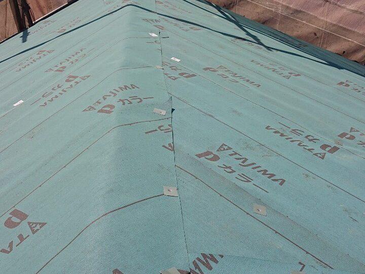 アスファルトルーフィング(防水シート)施工